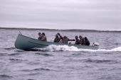 Cree Indians leaving in their boats for a goose hunt. Quebec. Canada. 1988