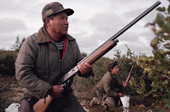 James (Jimmy) Rupert, a Cree hunter, shooting geese in the autumn. James Bay. Quebec, Canada. 1988