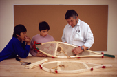 Cree school children learning to make snow shoes. Quebec. Canada. 1988