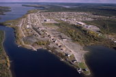 An aerial view of the Cree village Mistassini, Quebec, Canada. 1988
