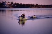 Cree trappers return from a fishing trip on Lake Bourinot, Quebec, Canada. 1988