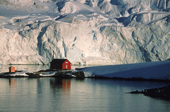 Argentinian base, Almirante Brown in the beautiful setting of Paradise Bay. Antarctic Peninsula.