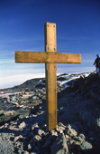 Memorial Cross to Captain Scott on the hill above McMurdo. Antarctica.
