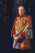 Dr. Conrad Swan, The York Herald, wearing his ceremonial Tabard at the College of Arms. 1997