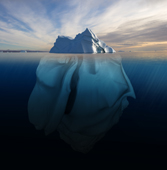 Melting Iceberg showing the portion underwater that is sculpted by the sea. Polar regions. Digital composite.