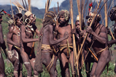 Yali warriors, with painted faces, dance at a feast. Seng Valley, Irian Jaya, Indonesia. 1990