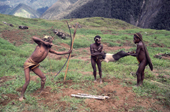 Yali tribesmen kill pig with bow & arrow, before a feast in the Seng Valley. Irian Jaya, Indonesia. 1990