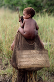 Yali boy being carried on his mother's back.  Irian Jaya, Indonesia. 1990