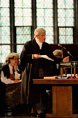 Re-enactment of an historical trial. A mock trial at Lincoln's Inn. Inns Of Court. London. England. 1990