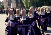 Judges procession at start of the legal year, from Westminster Cathedral to the House of Commons, London. 1990