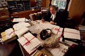 Anthony Scrivener QC, in his chambers at New Square, Lincoln's Inn, The Inns of Court. London. 1990