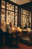 Making judges & barristers wigs in the Bar Room at Ede and Ravencroft. London, England. 1990