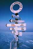 The signpost outside Halley Research Station showing distances to various other stations and places. Antarctica.
