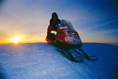 Lyndsey Bishop skidooing at Halley Research Station around the time when the sun sets completely for winter. Antarctica.