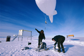 Tethersonde being flown under a helium filled Blimp to profile wind speed and temperature in the Boundary Layer above Halley Research Station, Antarctica.