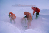 Filling the melt tank (snow melting system), in poor weather at Halley Research Station, Brunt Ice Shelf, Antarctica.