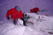 Duncan Cameron digging out a Nansen sledge during a 'blow' near Halley Research Station, Brunt Ice Shelf, Antarctica.