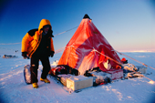 Duncan Cameron returns to his pyramid tent at a winter British Antarctic Survey campsite in -35 Cent. in the 'Hinge Zone', Brunt Ice Shelf, Antarctica.