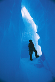 Steve Hinde explores an ice cave in the 'Hinge Zone', Brunt Ice Shelf, Antarctica.