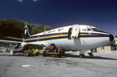 Unloading baggage from an Air Nauru Plane. Nauru. The Pacific.