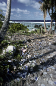 Litter on the beach gives Nauru a strong radar image to pilots. Anibare Bay, Nauru. The Pacific.