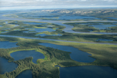 An aerial view of the Mackenzie River & Delta near Inuvik. N.W.T. Canada. 1996