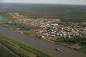 Aerial view of the community of Inuvik and the Mackenzie River. N.W.T. - Canada. 1996