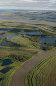 An aerial view of the Mackenzie River & Delta near Inuvik. N.W.T. - Canada. 1996