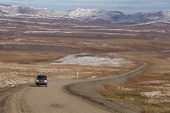A pickup truck on the Dempster Highway. N.W.T. Canada. 1996