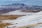 View of the Richardson Mountains in snow, from the Dempster Highway. N.W.T., Canada. 1996