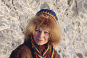 A sami woman from Lovozero wearing a traditional fur hat from the Kola Peninsula. Murmansk, NW Russia. 2005