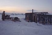A Sami reindeer herders' hut at dusk on the tundra near Lovozero. Murmansk, NW Russia. 2005
