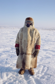 Olga Kirillova, a Sami woman from Lovozero, out on the tundra in the winter time. Murmansk, NW Russia. 2005