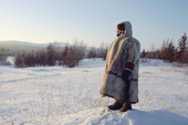 Olga Kirillova, a Sami woman from Lovozero, out on forest tundra in the winter time. Murmansk, NW Russia. 2005