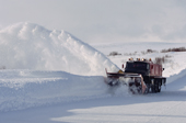 A snow plough clears the road between Murmansk and Nikel. Kola Peninsula, NW Russia. 2005