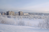 Apartment blocks viewed from park next to Alyosha monument. Murmansk, NW Russia. 2005