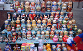 Matroshka Dolls on a souvenir stand near Red Square. Moscow, Russia. 2005