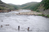 A salmon angler with his guide fly fishing on the Eastern Litza River. Kola Peninsula, NW Russia. 2005