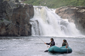 A salmon angler with his guide fly fishing in the Falls Pool on the Eastern Litza River. Kola Peninsula, NW Russia. 2005