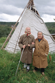 Fyorkla Chaporova (left), an 82 year old Sami woman with her younger sister, Paulina (80), from the village of Shongui. Kola Peninsula, NW Russia. 2005