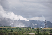 Smoke rising from chimneys at the nickel smelter in Monchegorsk, one of the most polluted areas in NW Russia. 2005