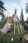 A Sami family put up their Lavo (tent) at a summer fishing camp near Lovozero. Kola Peninsula, NW Russia. 2005