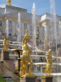 Gilded statues and the Great Cascade, Peterhof Palace. Near St. Petersburg, Russia. 2010