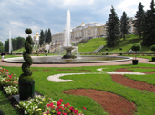 Fountains and gardens in the grounds of the Grand Palace. Peterhof. Near St. Petersburg, Russia. 2010