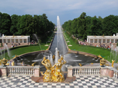 Golden fountains on a terrace above the Sea Canal, in the grounds of Peterhof Palace. Near St. Petersburg, Russia. 2010