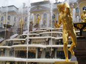 Gilded statues, fountains and the Great Cascade. Peterhof Palace. Near St. Petersburg, Russia. 2010
