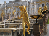 Gilded statues and the Great Cascade at Peterhof Palace. Near St. Petersburg, Russia. 2010