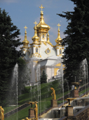 View of the East Chapel through gilded statues and waterfalls at Peterhof Palace. Near St. Petersburg, Russia. 2010