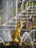 Gilded statue, Samson Rending Open the Jaws of the Lion, part of the Great Cascade, Peterhof Palace. Near St. Petersburg, Russia. 2010
