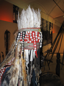 A traditional Tuvan shaman's headress, decorated with feathers and cowrie shells. Tuva, Southern Siberia, Russia. 2010